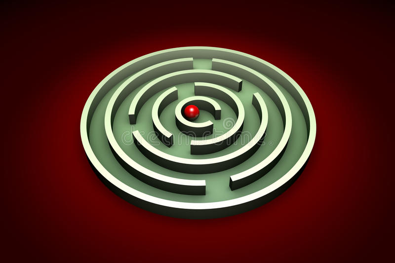 Achieving the goal. Red ball in the center of the green maze. Artistic background vector illustration
