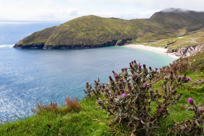 Achill Irlanda, vista alla spiaggia di Keem. immagini stock