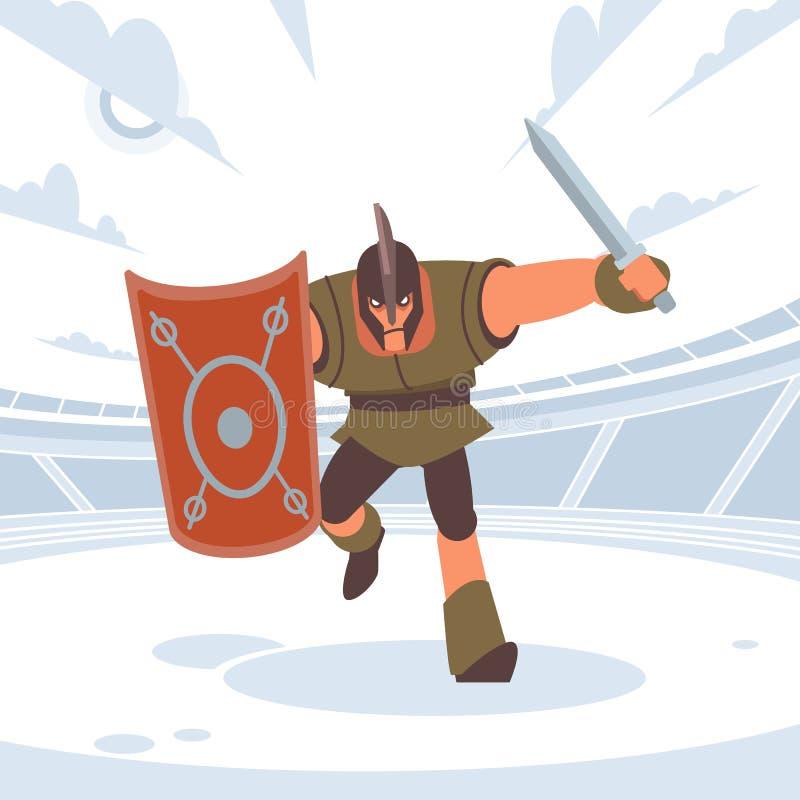 Achille in battaglia corre al nemico con una spada e uno scudo Figura isolata vettoriale Stile fumetto piatto immagini stock libere da diritti