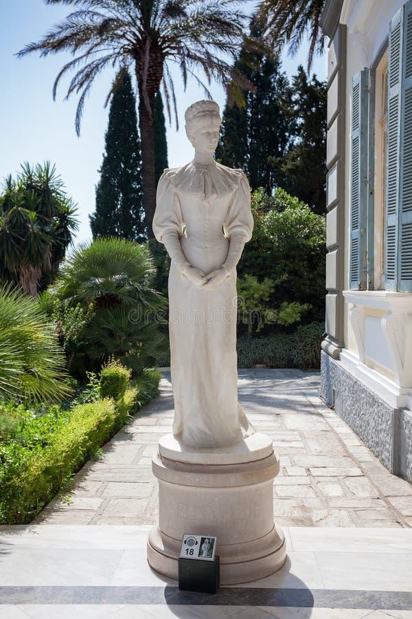Achilleion pałac - statua imperatorowa Sisi Corfu wyspa, Gr obraz stock