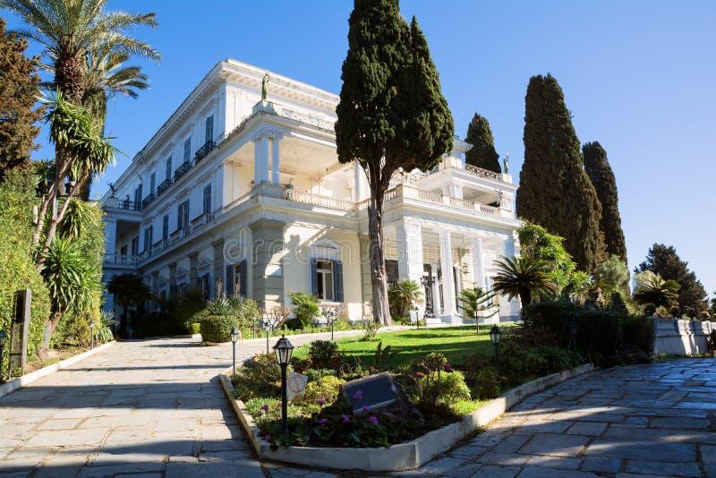 Achilleion pałac w Corfu wyspie, Grecja, budujący imperatorową Austria Elisabeth Bavaria, także znać jako Sisi zdjęcia royalty free