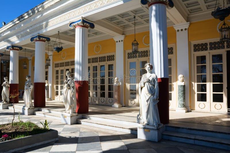 Achilleion pałac w Corfu wyspie, Grecja, budujący imperatorową Austria Elisabeth Bavaria, także znać jako Sisi zdjęcie royalty free