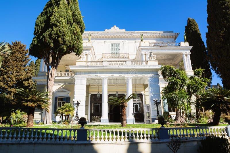 Achilleion pałac w Corfu wyspie, Grecja, budujący imperatorową Austria Elisabeth Bavaria, także znać jako Sisi fotografia royalty free