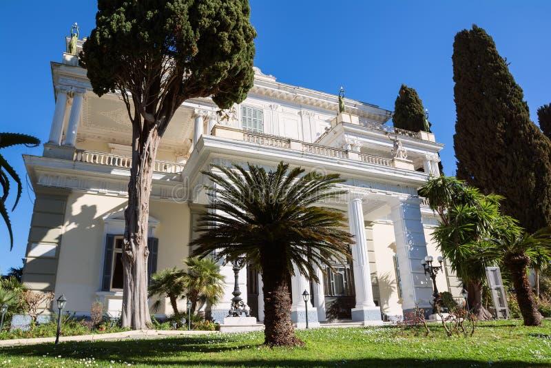 Achilleion pałac w Corfu wyspie, Grecja, budujący imperatorową Austria Elisabeth Bavaria, także znać jako Sisi obraz royalty free