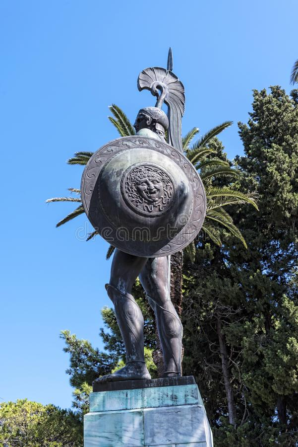 Huge Statue of Achilles in Garden the Achilleion Palace on the island of Corfu Greece built by Empress Elizabeth of Austria Sissi. Achilleion is a palace built stock photos