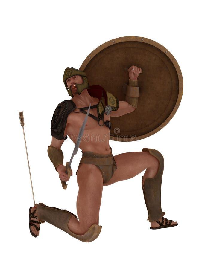 Achilles dalingen met een pijl in zijn hiel stock illustratie