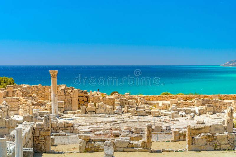 Achilleus Haus Kourio-Basilika am Schongebiet von Apollo an der Kourions-Welterbarchäologischen Fundstätte nahe Limassol Lemeso stockfotografie