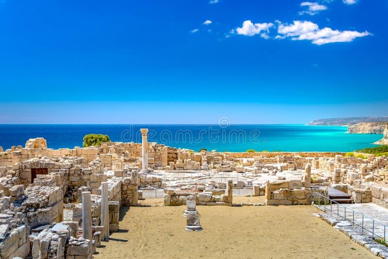 Achilleus Haus Kourio-Basilika am Schongebiet von Apollo an der Kourions-Welterbarchäologischen Fundstätte nahe Limassol Lemeso lizenzfreies stockfoto