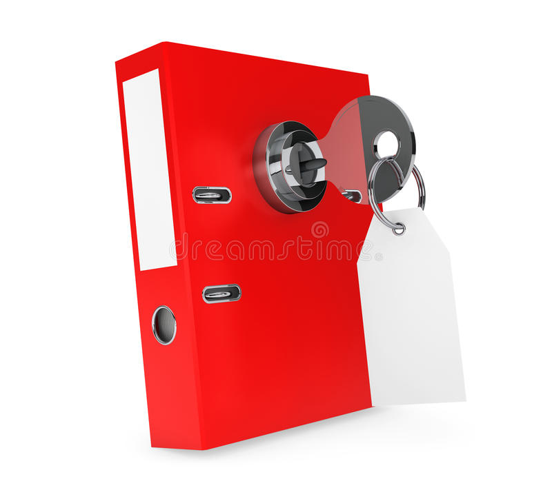 Achive Office Binder with Key Lock and Blank Tag. On a white background royalty free illustration