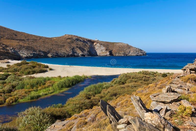 Achla海滩, Andros,希腊 库存照片