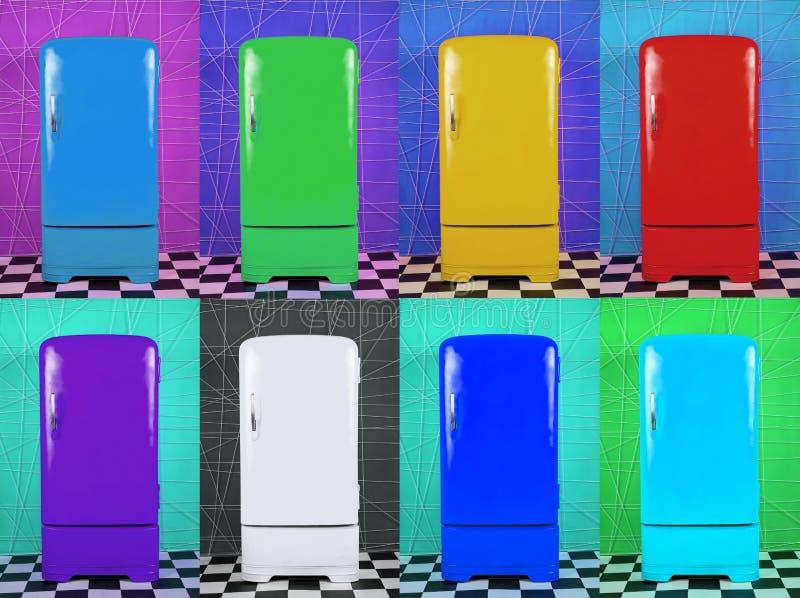 Acht alte mehrfarbige Kühlschränke auf verschiedenen Hintergründen lizenzfreie abbildung