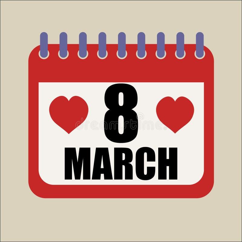acht des Tages der glücklichen Frauen des Marschkalenders lizenzfreie abbildung