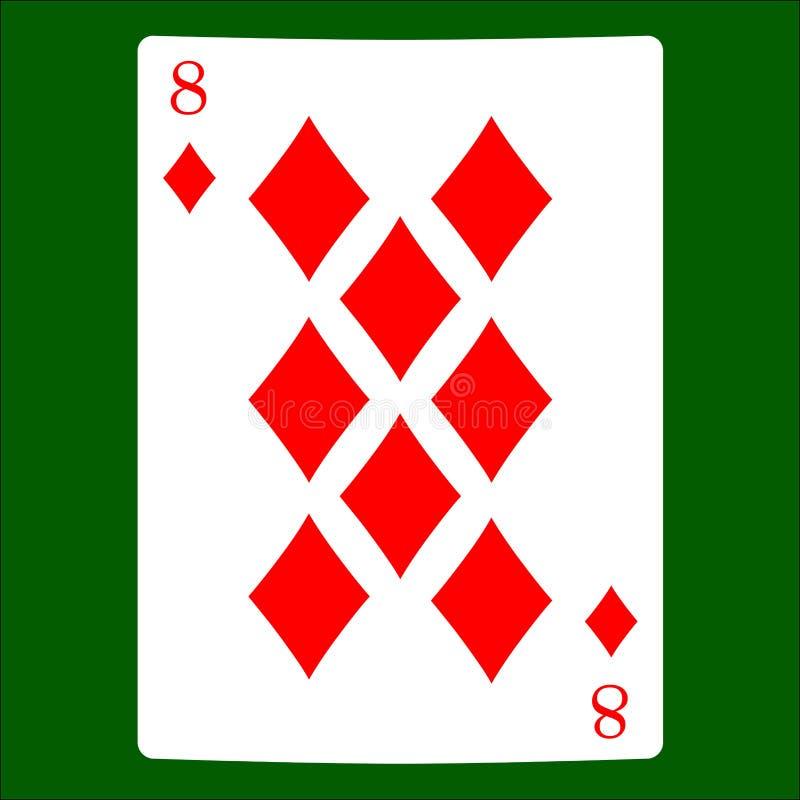 Acht diamanten Het pictogram van het kaartkostuum, speelkaartensymbolen stock illustratie