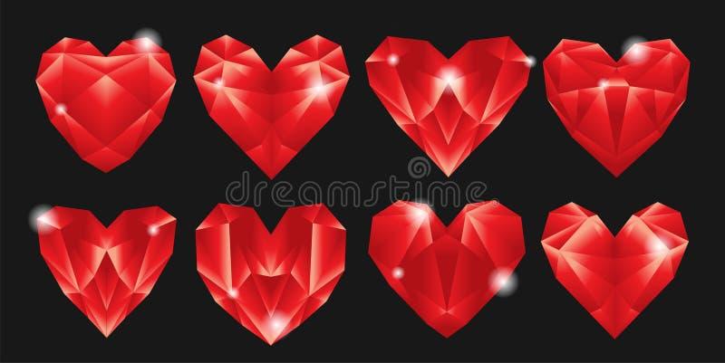 Acht geometrische gevormde harten op donkere grijze achtergrondhartdiameter stock illustratie