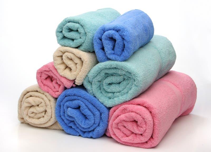 Acht handdoekenpiramide stock foto's