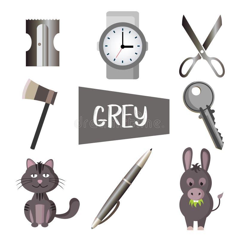 Acht Illustrationen in der grauen Farbe lizenzfreie abbildung