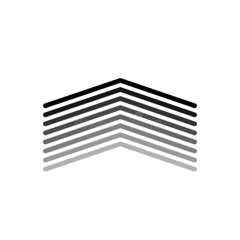 Acht lineaire brede pijlen omhoog Dun lijnpictogram voor websiteontwerp en app ontwikkeling De pijl toont richting Editableslag V stock illustratie