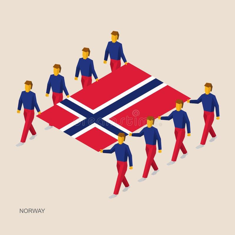 Acht mensen houden grote vlag royalty-vrije illustratie