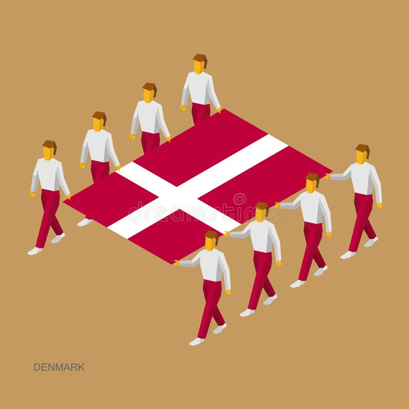 Acht mensen houden grote vlag vector illustratie