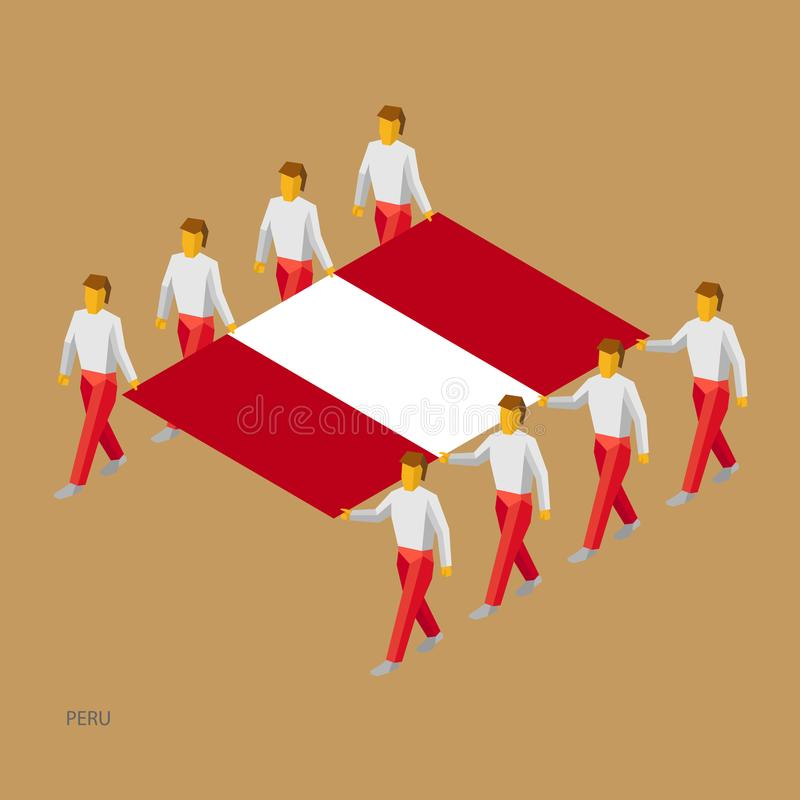 Acht mensen houden grote vlag stock illustratie
