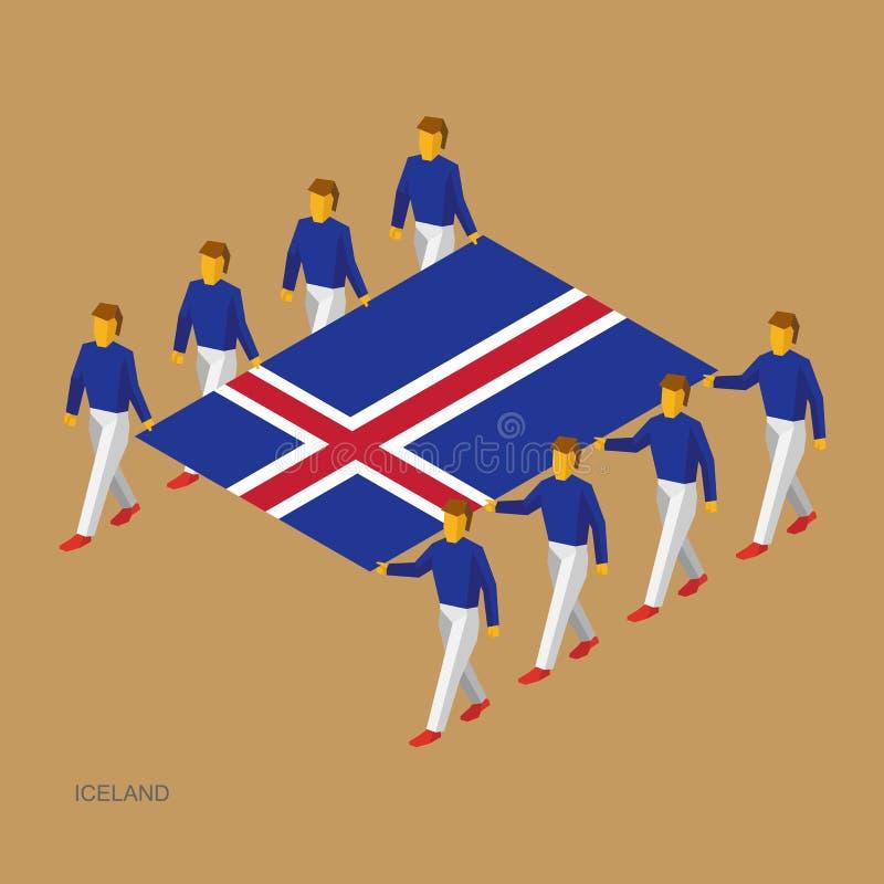 Acht mensen houden grote vlag van IJsland 3D isometrische standaarddragers Ijslands sportteam stock illustratie