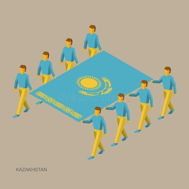 Acht mensen houden grote vlag van Kazachstan 3D isometrische standaarddragers Kazakh sportteam stock illustratie