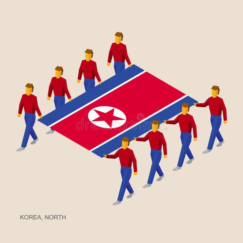 Acht mensen houden grote vlag van Noord-Korea vector illustratie