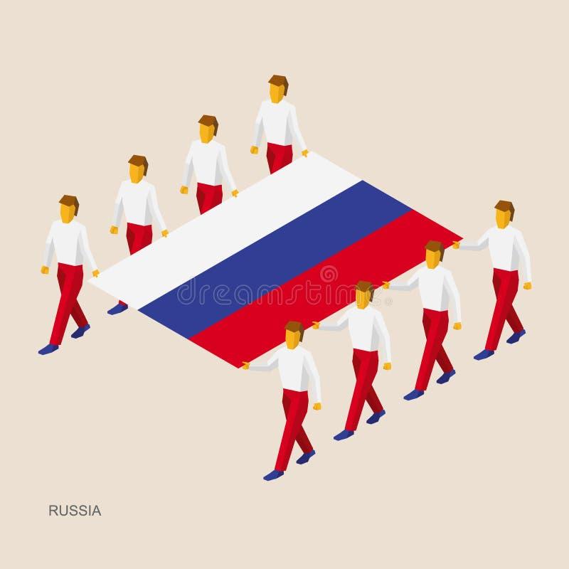 Acht mensen houden grote vlag van Rusland stock illustratie