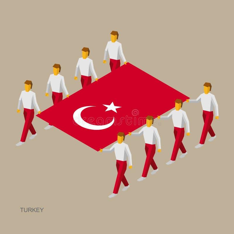 Acht mensen houden grote vlag van Turkije 3D isometrische standaarddragers Turks sportteam vector illustratie