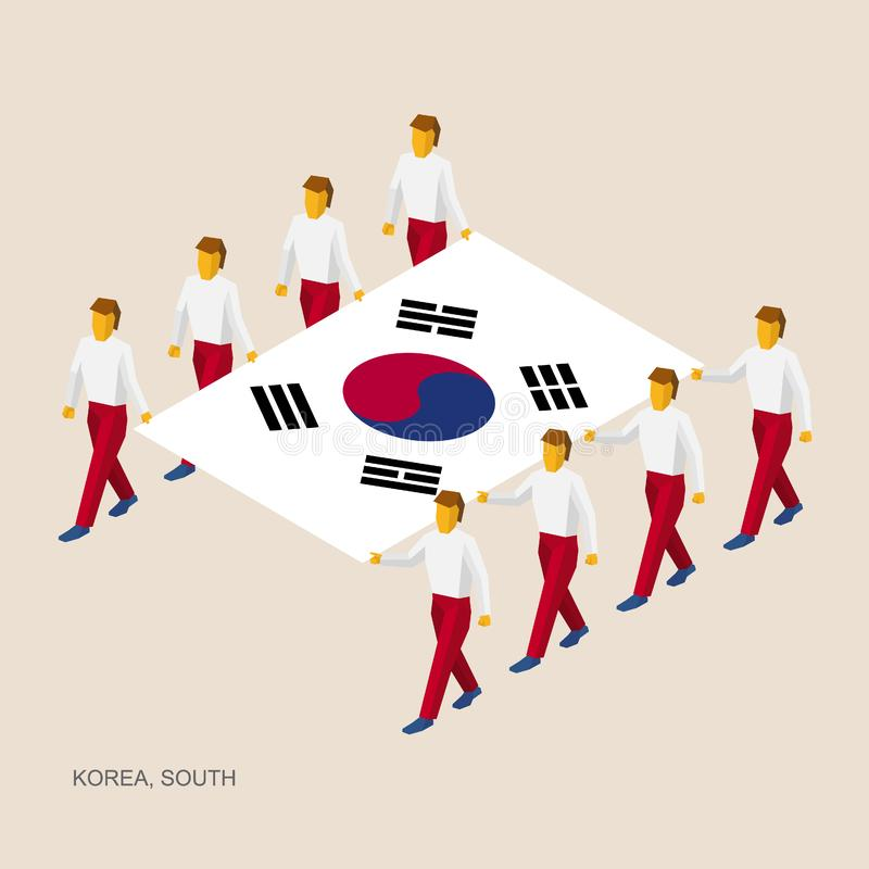 Acht mensen houden grote vlag van Zuid-Korea vector illustratie