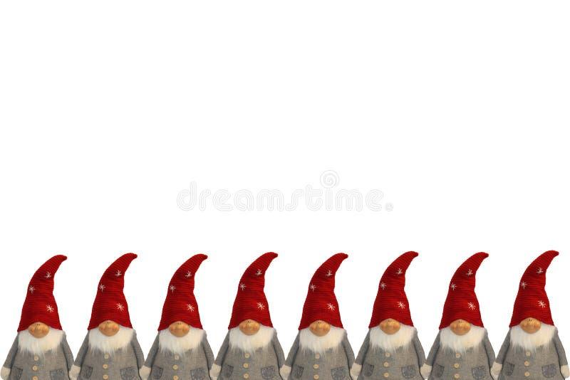 Acht nette Santa Clauses-Weihnachtskartenhorizontale lokalisiert auf weißer Vertikale - Raum für Text lizenzfreie stockfotos