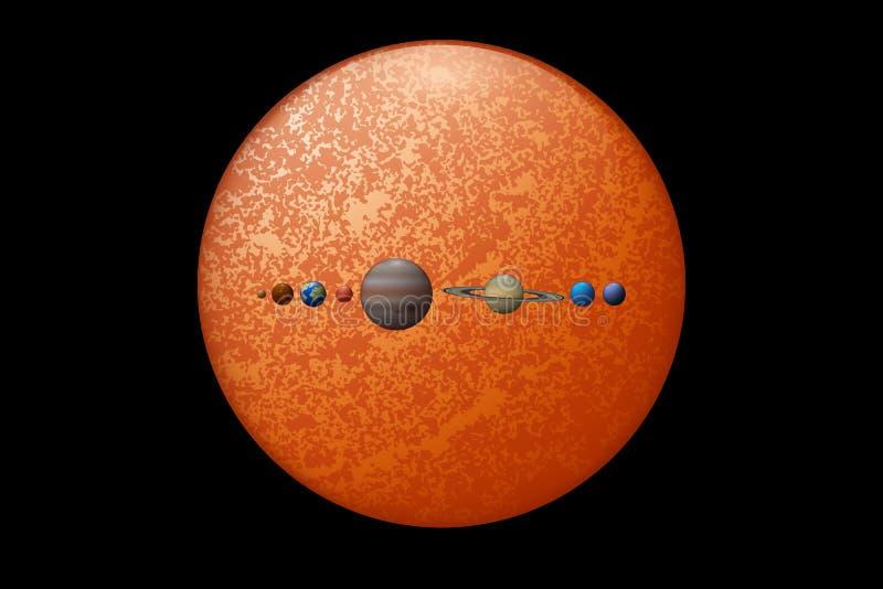 Acht Planeten und die Illustration der Sonne 3d stock abbildung