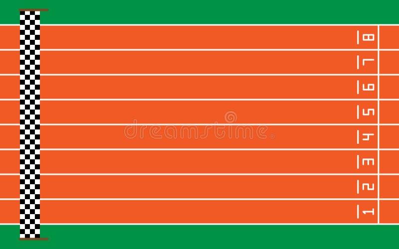 acht renbanen op groen met doel, vectorillustratie stock illustratie