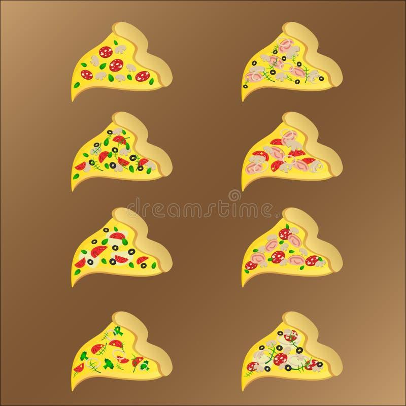 Acht Scheiben vegeterian und Fleischpizza mit Käse lizenzfreie abbildung