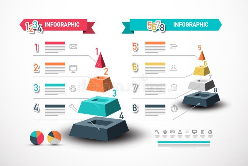 Acht Schritte Infographic-Entwurf mit Pyramide Datenfluss-Vektor-Konzept mit Beispieltext-und -technologie-Netz-Ikonen stock abbildung