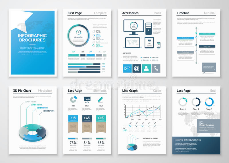 Acht Seiten von infographic Broschüren und von Fliegern für Geschäft lizenzfreie abbildung