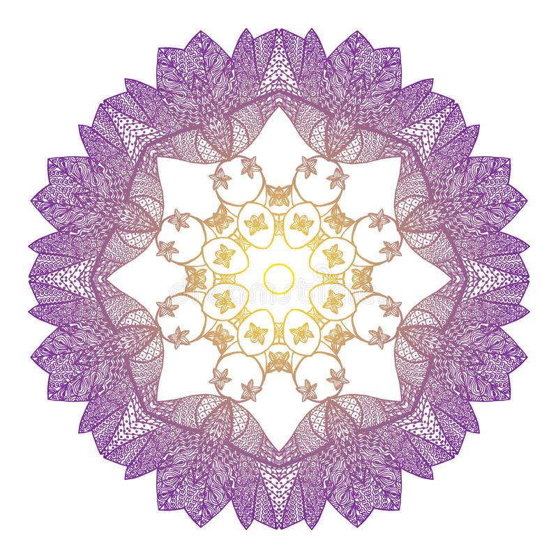 Acht-spitze Mandala im Art zentangl vektor abbildung