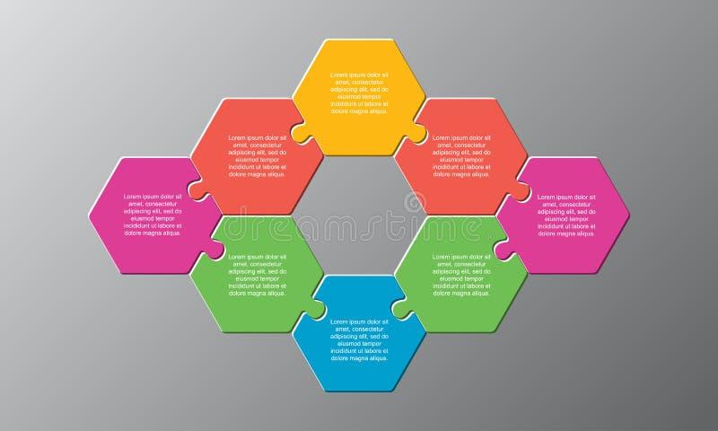 Acht stukken puzzelpuzzelstukjes hexagonal info royalty-vrije illustratie