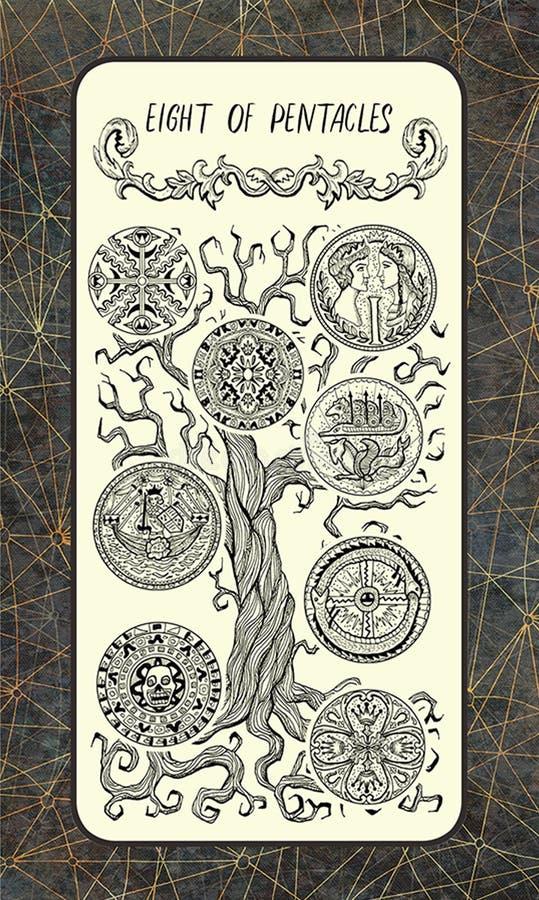 Acht van pentacles De Magische kaart van het Poorttarot royalty-vrije illustratie