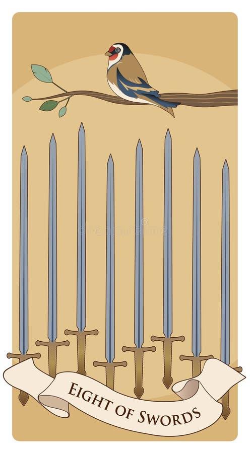 Acht von Klingen Tarot Karten Vogel auf einer Niederlassung auf acht Klingen stock abbildung