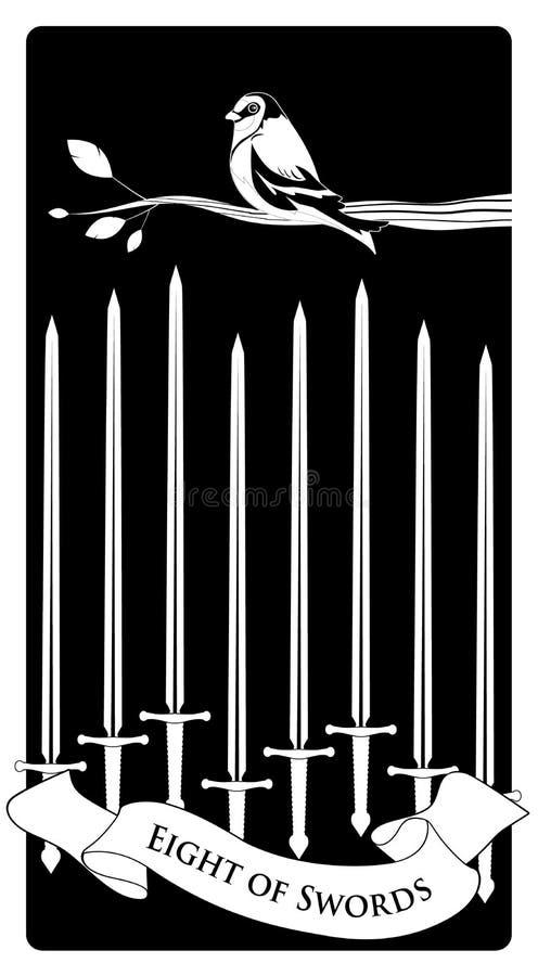 Acht von Klingen Tarot Karten Vogel auf einer Niederlassung auf acht Klingen vektor abbildung