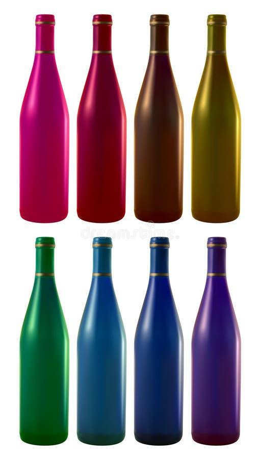 Acht wijnflessen stock illustratie