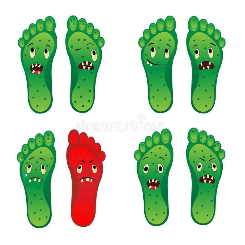 Acht zombievoet vectoreps van voetsmiley dossier stock illustratie