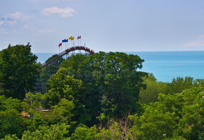 Achtbaan bij Waldameer-Park Erie, Pennsylvania royalty-vrije stock foto's