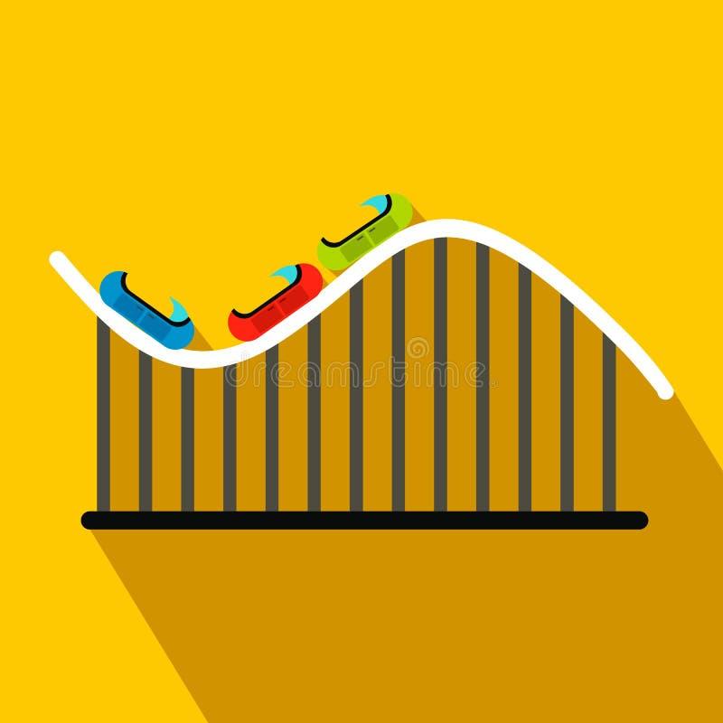 Achtbaan vlak pictogram stock illustratie
