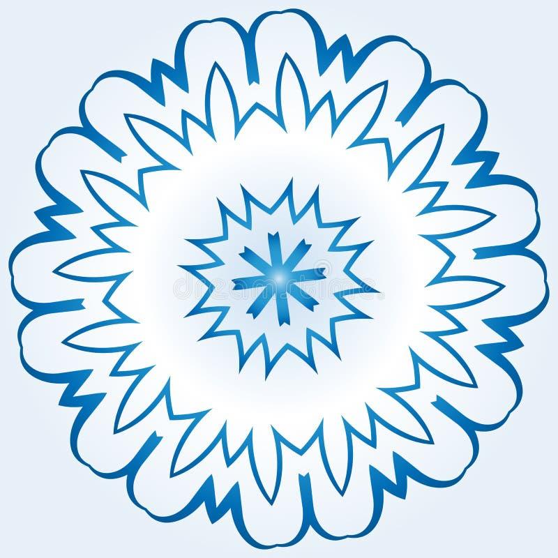Achteckige blaue und weiße Schneeflocke auf hellblauem Steigung backgr stock abbildung
