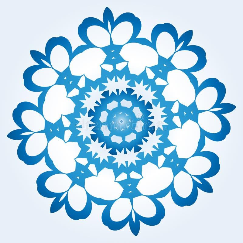Achteckige blaue und weiße Schneeflocke auf hellblauem Steigung backgr vektor abbildung