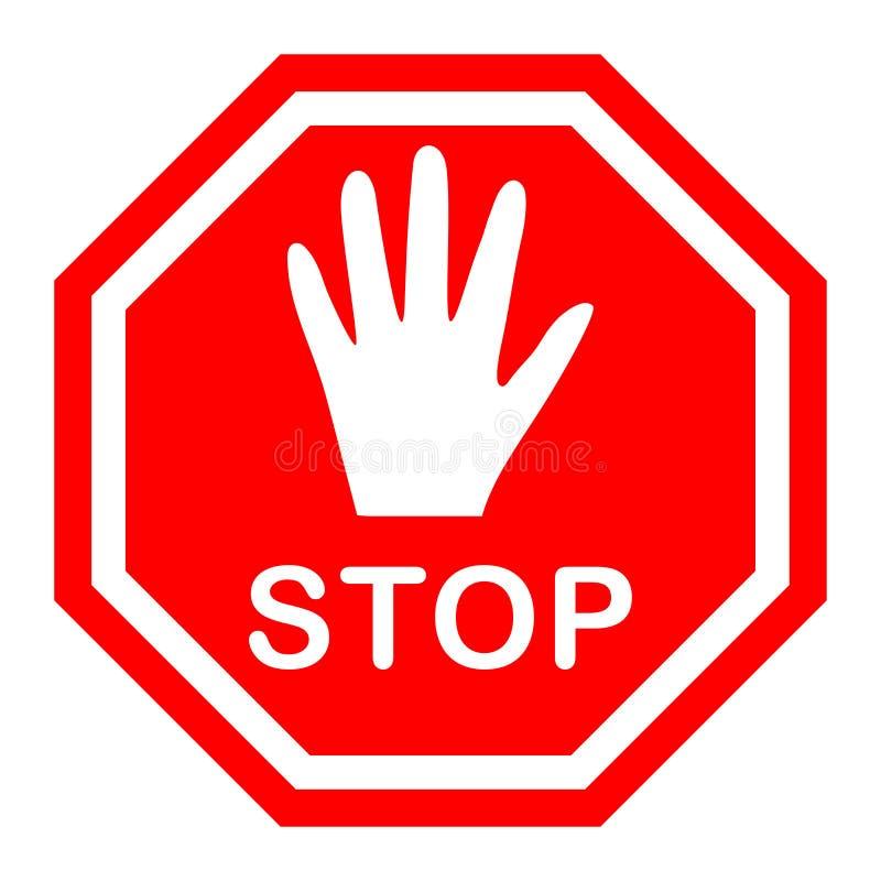 Achteckiges Stoppschild mit einer weißen Hand auf einem roten Hintergrund, Bewegung wird verboten lizenzfreie abbildung