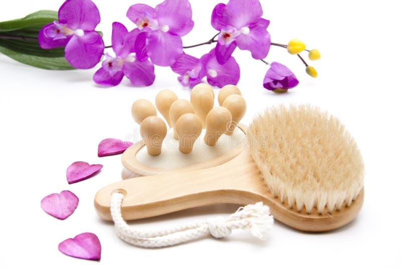 Achter borstel met massageborstel stock afbeelding