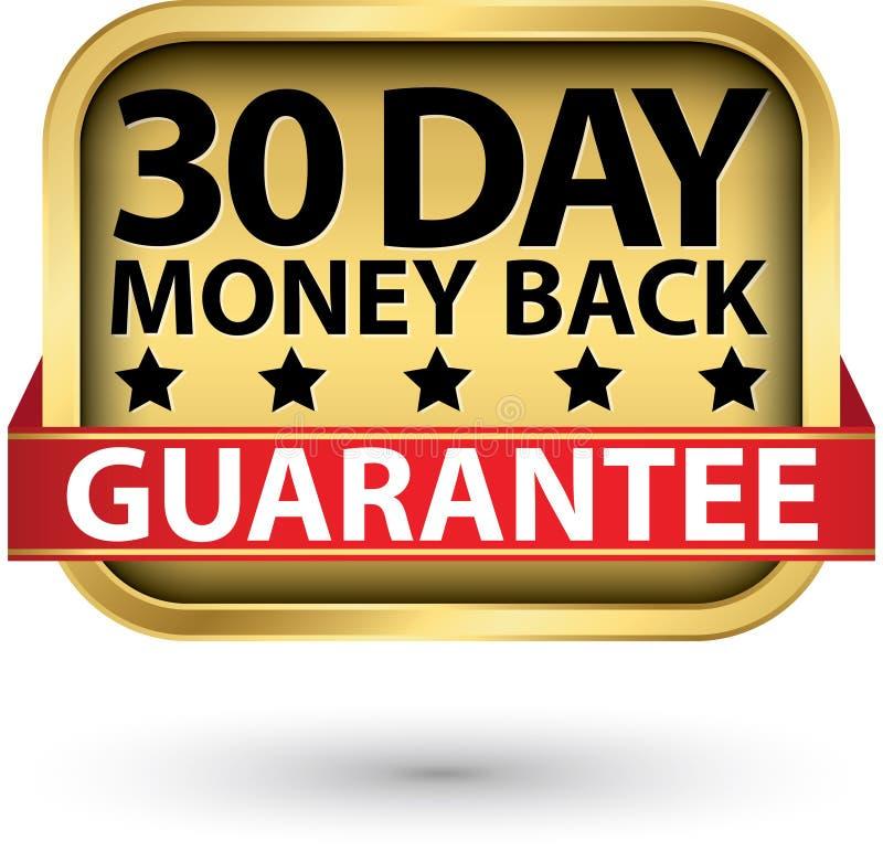 30 - achter de waarborg gouden teken van het daggeld, vectorillustratie royalty-vrije illustratie